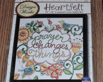 "Sealed Design Works Heartfelt #2793 PRAYER Changes Things, Counted Cross Stitch Picture Kit 10""x10"""