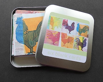 Six blank chicken cards, tin of six cards, chickens, cockerels, screen prints with envelopes