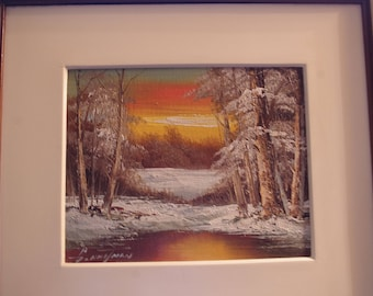 Vintage Winter Wood Scene with Lake Oil Painting Framed