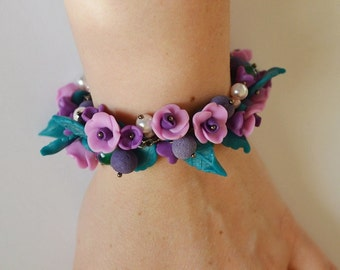 Flowers bracelet purple and green handmade Jewelry polymer clay gift for sister Christmas gift elegant Jewelry Romantic floral bracelet folk