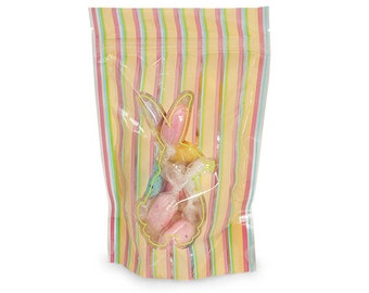 Easter Bunny Cookie Bags, Easter Cellophane Bags with Zipper Top, Easter Candy Bags, Easter Treat Bags, Pastel Goodie Bags, Sweet Bags
