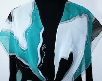 Aqua Black White Silk Scarf Handpainted Chiffon Silk Shawl NIGHT WATERFALL, by Silk Scarves Colorado. Select Your SIZE! Birthday Gift,