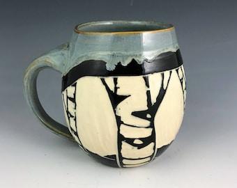Sgraffito Birch Mug Gray Glaze