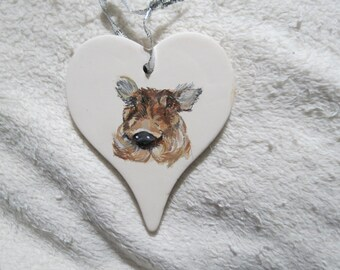 Warthog Pig Pet Portrait Memorial Christmas Ornament Hand Painted and Made to Order by Pigatopia