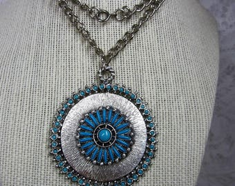 Florenta of California 1970 Boho Turquoise Blue Cabochone and Brushed Silver Tone Round Pendant on Silver Tone Chain