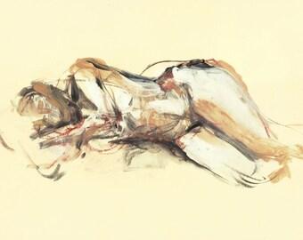 """Originalzeichnung, """"Hommage à Lovis Corinth XX"""", Mischtechnik auf Papier, 24x35 cm"""