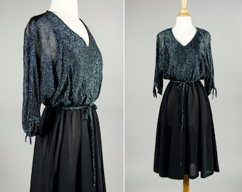 SALE Vintage 1970's Glamorous Black and Blue Metallic Dolman Cocktail Dress- Size S or M