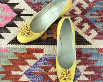 1960's Yellow Leather Heels w/ Beaded Details Vintage Kitten Heels Size 6 by Maeberry Vintage