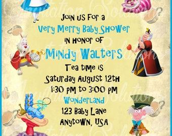 Alice in Wonderland Baby Shower Invitation/ Wonderland Themed Baby Shower Invitation