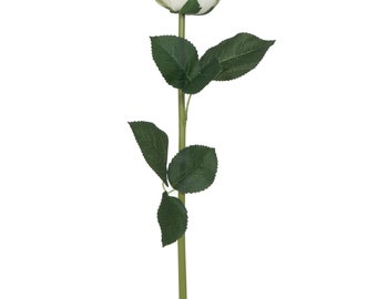 Artificial White Rose Stem With Leaves - W 9 cm / D 9 cm / H 54 cm