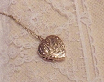 Vintage Engraved Heart Shaped Locket And Chain.