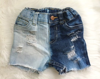 Two Toned Toddler Distressed Denim Shorts, Shorties, Girls Distressed Denim Shorts, Baby Girl Toddler Shorts, Jean Shorts, Ripped Shorts