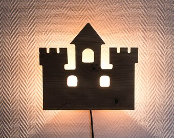 """French Wall light """"fortified castle"""" Solid wood"""