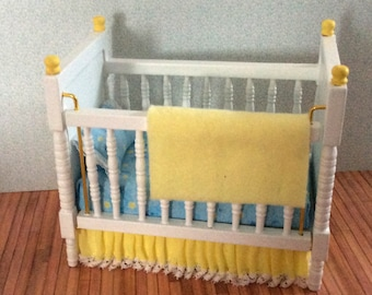 Miniature One Inch Scale Yellow and Blue Crib