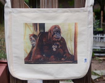 Orangutan Family Organic Canvas Tote