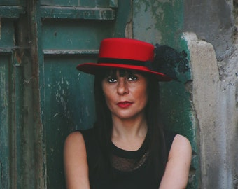 Red felt boater hat - Felt canotier hat - Red and black wool felt hat - Red spanish hat