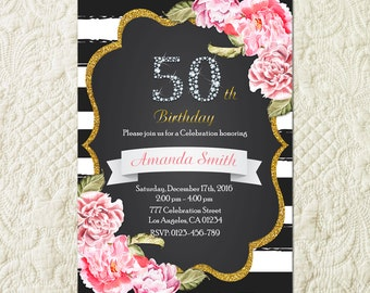 50th Birthday Invitation, 50th Birthday Invitation For Women, Fifty And Fabulous invitation, 50 And Fabulous Invitation, Golden 50 Invite
