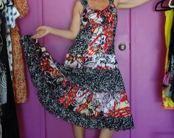 Orientique Cotton Dress with Black and Red Pattern