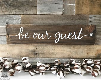 "Be our Guest Wood Sign | Guest room Decor | Housewarming Gift (24""x5.5"")"