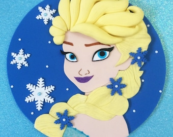 Elsa fondant cake topper - Elsa birthday - Elsa party - Elsa cake topper - Elsa fondant topper - Frozen party - Frozen birthday