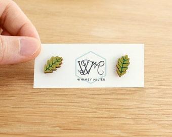 Wooden earrings . Oak leaf . Stud earrings . Studs . Earring studs . Wooden jewelry . Plant jewelry . Outdoor lover . Gifts under 20