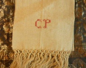 French antique linen damask hemp and Monogram * 1.06 m x 0.64 m *.