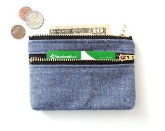 Wallet Coin Purse Double Zip Wallet Pouch Blue Chambray