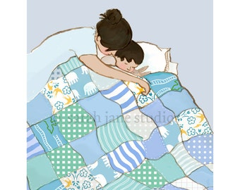 Children's Wall Art Print - Snuggle Me - Kids Nursery Room Decor