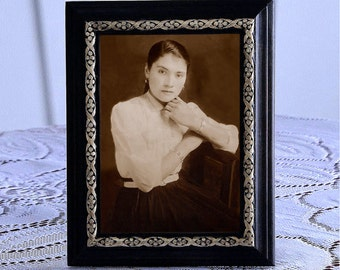 Gift mother's day, restoration Sepia, custom, framed rustic, handmade, gift gift for woman, Vintage photography