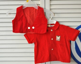 Vintage Infant Boy Girl Red Velvet Jacket & Vest 50s 60s Baby-Doll Costume Mid Century Christmas Holiday Newborn Coombs Creation Small 12 LB
