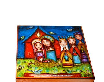 Nativity with Birds -   Giclee print mounted on Wood (4 x 4 inches) Folk Art  by FLOR LARIOS