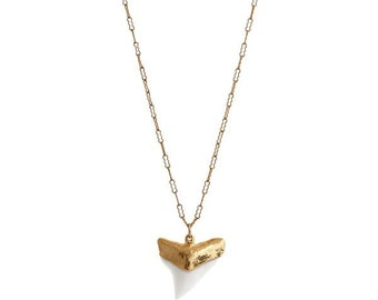 White Shark Tooth Necklace, Shark Tooth Necklace, Gold Shark Tooth, Long Necklace, Gold Dipped Tooth, Beach Jewelry, Hawaii Jewelry, Gift