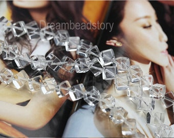 Clear Crystal Cube Beads, Diagonally Drilled Natural Crystal Cube Beads, Full Strand 6 8 10mm Crystal Beads for Jewelry Making (Y143)