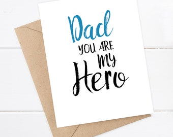 Father's Day Card / Father Birthday Card / Dad Birthday / Funny Father's Day / Dad you are my Hero