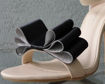 Christmas New Year Colors Two Tone Satin Ribbon Bow Shoe Clips Black And Silver Set Of Two, More Colors Available