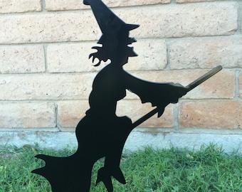 Halloween Lawn Decor, Black Witch, Halloween Witch, Halloween Decorations,  Metal Witch,