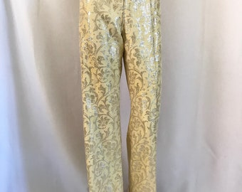 "1960's Metallic Brocade Satin Wide-leg Slacks 27""w"