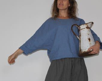 Pure linen batwing toploose linen top with long sleeves,dolman top,linen tunic top,dolman sleeve shirt,linen batwing shirt,plus size shirt
