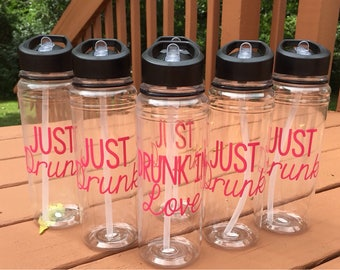 Drunk In Love Just Drunk Customized Water Bottles- bridesmaid gifts, bachelorette party favors, just drunk, drunk in love, bridal party gift