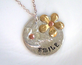 Silver Necklace, Smile Dove Design, Artisan Silver Jewellery and Stamped Keepsakes