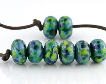 Belize Handmade Glass Lampwork Beads (8 count) by Pink Beach Studios - SRA (1907)