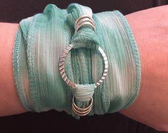 Mint Green Boho Sari Ribbon Wrap Bracelet