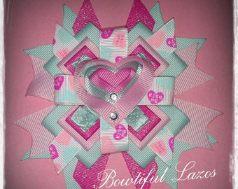 Valentine day pinwheel hair bow