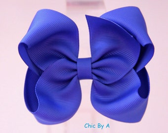 """Blue,Grey,Pink,4""""Boutique Bow,Lovely Stacked,Baby,Girl,Ponytail Bow,Hair Clips,Elegant Hair Bow,Baby, Kids,Toddler,Grosgrain Ribbon,Hair Bow"""