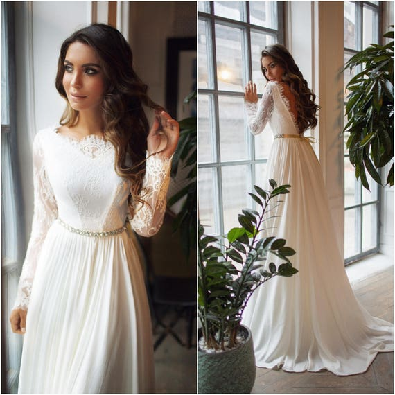 Long sleeve wedding dress Ariel lace open back