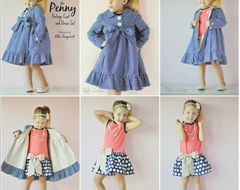 Penny Vintage Coat and Dress Pattern  - Ellie Inspired PDF Pattern - Size 1 - 16