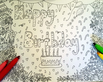 Happy Birthday Printable  Coloring Page, Download  colouring drawing, Adult coloring page, PDF coloring page