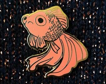 Sad Fish Hard Enamel Pin - Gold and Orange - Lapel Pin Cloisonné Badge - Goldfish Black Telescope, Mermaid Pin
