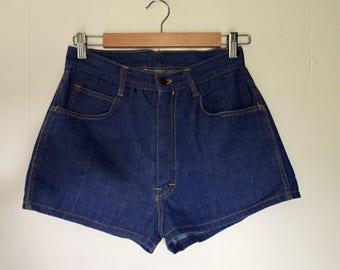 High waisted dark denim shorts
