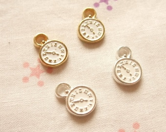 10mm Clock Charm Gold Plate or Silver Plate
